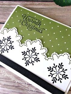 snowflake sentiments stampin up cards Diy Christmas Snowflakes, Christmas Cards 2017, Snowflake Cards, Homemade Christmas Cards, Xmas Cards, Homemade Cards, Handmade Christmas, Holiday Cards, Christmas Diy