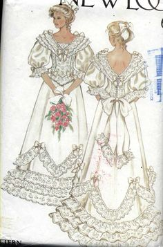 Items similar to Vintage New Look 6359 Edwardian Bridal Gown Lace Bows Ruffles Sewing Pattern Sizes 8 to 18 Uncut on Etsy Wedding Dress Sewing Patterns, Vintage Dress Patterns, Vintage Dresses, Vintage Outfits, Vintage Fashion, Vintage Sewing, Vintage Nightgown, Barbie Patterns, Clothes Patterns