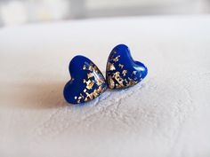 Royal Blue Gold Heart Stud Earrings  Polymer Clay by LaLiLaJewelry, $16.00