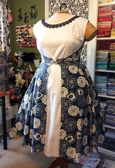 the Walkaway dress Butterick4790, added a full gathered skirt onto the front…