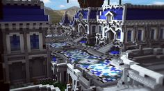 Royal mansion - A hybrid spawn with download! Minecraft Project Minecraft City Buildings, Minecraft Structures, Minecraft Architecture, Minecraft Blueprints, Minecraft Designs, Minecraft Projects, Minecraft Stuff, Minecraft Drawings, Amazing Minecraft