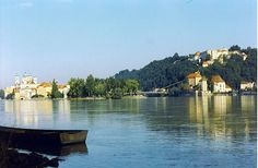 Danube River confluence with the River Inn Central And Eastern Europe, Danube River, Future Travel, Perfect Place, Places To See, Most Beautiful, Cruise, Scenery, Around The Worlds