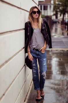 Boyfriend Jeans. Leather jacket.  Valentino Shoes. Gorgeous