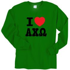 """On this Alpha Chi Omega printed longsleeve tee, the #heart will always be in red. Please choose the color for the Alpha Chi Omega letters (the """"I"""" will be same color as the #Greek letters). #Sorority #Clothing #AlphaChiOmega #AChiO #Love"""