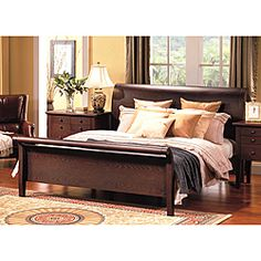 @Overstock - Made of solid hardwood with a cappuccino veneer, this handsome Novara king-size sleigh bed is a striking addition to any bedroom. A box spring is not needed with this sturdy sleigh bed, which measures 80 inches wide by 94 inches deep by 47 inches high.http://www.overstock.com/Home-Garden/Abbyson-Living-Novara-King-size-Sleigh-Bed/6319017/product.html?CID=214117 $1,086.99