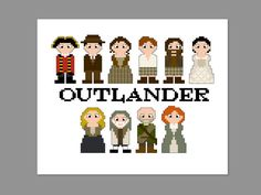 THIS IS FOR A PDF PATTERN ONLY.  Outlander Pixel People Pattern Pattern measures 8 x 5 on 14 count cloth.  Characters include: Black Jack