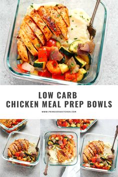 Low carb chicken meal prep bowls are full of protein and fresh veggies. Make this recipe in 30 minutes for healthy lunches or dinners.