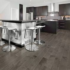Check out the latest trends in hardwood flooring to showcase your design style. Stop by our LA showroom and see the best flooring trends to meet your needs. Grey Hardwood Floors, Prefinished Hardwood, Wood Floor Kitchen, Kitchen Flooring, Wood Flooring, Flooring Ideas, Kitchen Design, Kitchen Decor, Room Kitchen
