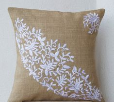 Decorative Pillow Cover Burlap Pillows Flower by AmoreBeaute
