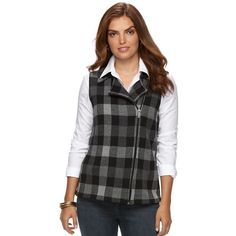 Petite Chaps Buffalo Check Sweater Vest ($55) ❤ liked on Polyvore featuring outerwear, vests, grey, petite, petite vests, grey waistcoat, sweater vest, gray sweater vest and buffalo check vest