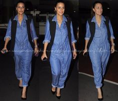 Denim Jumpsuit Outfit Ideas, Denim Jumpsuit Styling Ideas, Denim Jumpsuit Ideas, What to Wear with Denim Jumpsuits.