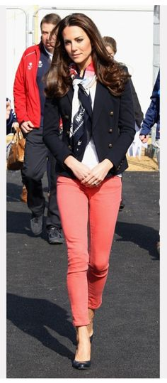 Kate Middleton always has the perfect outfits! I must get a pair of orange/coral jeans.