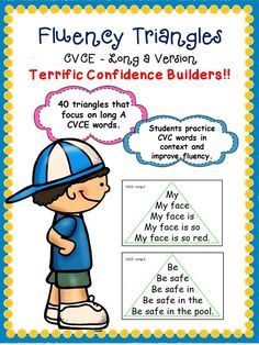 Fluency Triangles - Long A CVCE version Reading Fluency Activities, Teaching Reading, Teaching Ideas, Learning, Good Readers, Struggling Readers, Cvce Words, Sight Words, Reading Task Cards