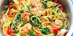 Linguine with tomatoes, greens, and shrimp in a buttery sauce = bomb.