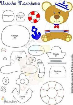 Resultado de imagem para ver centro de mesa para cha de bebe tema marinheiro com o molde Felt Patterns, Applique Patterns, Craft Patterns, Felt Crafts, Diy And Crafts, Felt Templates, Felt Books, Baby Mobile, Felt Baby