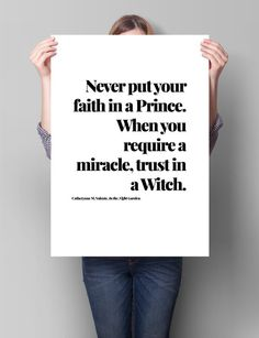 The Orphan's Tales Quote Printable Art -Never put your faith in a Prince-  Catherynne M. Valente | Literary quote | Downloadable gift