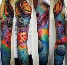 Incredible and shocking space tattoo designs to astound you. Enjoy over 44 awesome space tattoos and science fiction body art ideas. (SEE SPACE TATTOOS) Insane Tattoos, Love Tattoos, Beautiful Tattoos, Body Art Tattoos, New Tattoos, Tattoos For Guys, Awesome Tattoos, Circle Tattoos, Star Tattoos