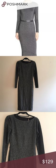 Ted Baker London silver Bodycon Midi dress Ted Baker London. Longer silver dress. Midi style: hits below knee. Comes without belt. New with tags. Ted size 2 - US size 6. Ted Baker London Dresses Midi