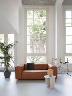 FEST Amsterdam - Dunbar loveseat - leather - plateau side table - febrik cushion - Geist lamp #interior #sofa #leather #sofa #inspiration #lovingroom