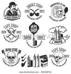Set of vape shop emblem templates. Design elements for logo, label, badge, sign. Vape Logo Design, Smoke Logo, Pag Web, Cigarette Brands, Logos, Photo Images, Smoke Shops, Vintage Design, Rustic Design