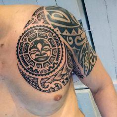Tangata Whenua Maori Moko Mens Shoulder Tattoo