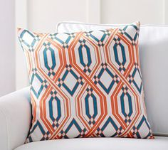 "Becks Printed Silk Pillow Cover, 22"", Blue/Orange"