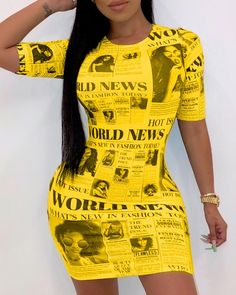 Short Sleeve Newspaper Pattern Bodycon Dress Women's Online Shopping Offering Huge Discounts on Dresses, Lingerie , Jumpsuits , Swimwear, Tops and More. Mini Club Dresses, Sweatshirt Dress, Pattern Fashion, Casual Dresses, Event Dresses, Fashion Outfits, Cheap Fashion, Fashion Clothes, Latest Fashion