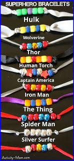 Super Hero bracelets.  Great fine motor skill for your kiddo's + fun to create and wear.