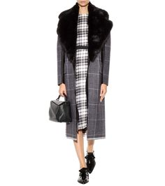 mytheresa.com - Janca plaid leather-trimmed wool coat - Luxury Fashion for Women / Designer clothing, shoes, bags