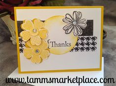 Pretty Thanks card in Yellowish Gold and Black. Is handmade by artist Marj Kiley Making Greeting Cards, Greeting Cards Handmade, Making Cards, Handmade Greetings, Thanks Card, Hand Stamped Cards, Stamping Up Cards, Rubber Stamping, Get Well Cards