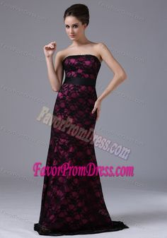 Burgundy Prom Dress in Black Lace with Tie Up Back and Sash