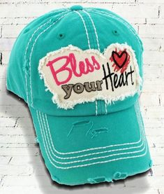 aa3c32362e420 Distressed Turquoise Bless Your Heart Cowgirl Ball Cap