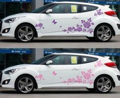 Flower Butterfly Nice Custom Wrap CAR VINYL SIDE GRAPHICS DECALS - Vinyl decals car