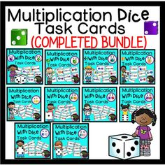 ***50% off the FIRST 48 Hours!Multiplication with Dice Task Cards- (COMPLETED BUNDLE)This is a COMPLETED BUNDLE of Multiplication task cards! There are 10 sets of task cards and each set has 24 task cards representing parts of a set! I've included recording sheets and answer keys, too! **Note: These task cards are also sold separately.*********************************************************************These task cards would work for grades 2-3 or 4th graders who could use some review!Here…
