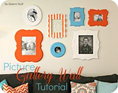 Picture Gallery Wall Tutorial from sixsistersstuff.com.  A great way to display all of your pictures! #pictures #gallerywall
