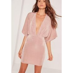 Missguided Slinky Plunge Kimono Sleeve Mini Dress Pink (30 CAD) ❤ liked on Polyvore featuring dresses, rose, kimono dress, sexy dresses, sexy short dresses, plunging neckline cocktail dress and plunge-neck dresses