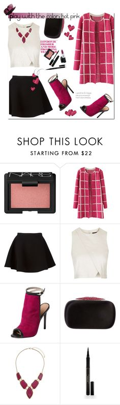 """Play with the color: hot pink"" by insaneryk ❤ liked on Polyvore featuring NARS Cosmetics, Neil Barrett, Topshop, Maiden Lane, Alexander McQueen, Billie & Blossom, Elizabeth Arden and MAC Cosmetics"