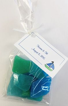 Edible Sea Glass Favor Gift Bag. Make a great favor for wedding,summer parties, yacht club events and more