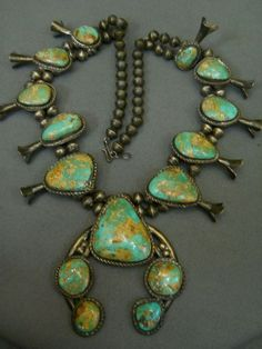 Old Royston turquoise sterling silver squashblossom necklace