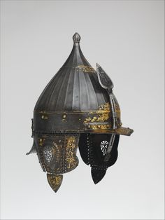 Helmet | Date: mid-16th century | Culture: Turkish | Medium: Steel, gold, silver | Dimensions: H. 10 3/4 in. (27.8 cm); Wt. 5 lb. 11 oz. (2580 g) | The Metropolitan Museum of Art