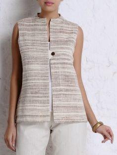 Brown-Ivory Handspun Khadi Sleeveless Jacket