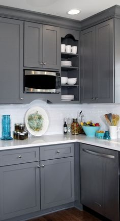 Grey Cabinets Black Appliances Silver Hardware Full Tile - Teal and grey kitchen