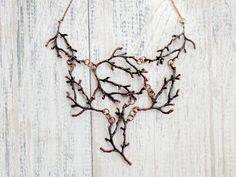 Statement Twig Necklace,Copper Red,Branch Necklace,Cascading Necklace, Nature Jewelry, Woodland, Forest Jewelry, Metal Tree Necklace