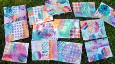 WOW! 13 Gelli Prints! Fun! - The Frugal Crafter -- Today I am using my new round Gelli Arts printing plate to make a bunch of prints that I will use in a bookmaking tutorial later this week.