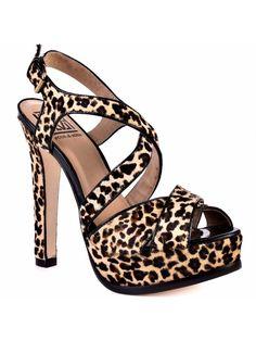 a1f7e4136cc Pour La Victoire  Helice  Pony Hair Leopard Print Platform Sandals 8.5