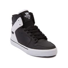 Shop for YouthTween Supra Vaider Skate Shoe in Black White at Journeys Kidz. Shop today for the hottest brands in mens shoes and womens shoes at JourneysKidz.com. High top skate classic from Supra, its the stylish Vaider in a new colorway only available at Journeys Kidz! This exclusive edition Supra Vaider features a black synthetic upper with white textile overlays and allover airhole perforations. Black lace closure with a padded collar and tongue and grippy, vulcanized rubber outsole for…