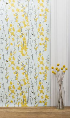 Shop for Bee wallpaper for your home by UK designer Lorna Syson. Bird and Wildlife wallpaper exclusive designs for bedroom, kitchen or any living space. FREE UK delivery on all wallpaper. Call for expert advice on wallpaper calculations on 02084659819 Wildlife Wallpaper, Bird Wallpaper, Bathroom Wallpaper, Wallpaper Samples, Home Wallpaper, Trendy Living Room Wallpaper, Yellow Flower Wallpaper, Yellow Flowers, Contemporary Wallpaper