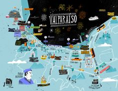 Valparaiso in Chile is the subject of this unique illustrated map designed by Mathias Sielfeld. Featuring a number of the city's famous landmarks, the design is sure to look great on any wall or mantel. South America Map, America City, Latin America, Casablanca, Foto Iman, Arte Latina, World Map Decor, Travel Crafts, Tanzania Safari