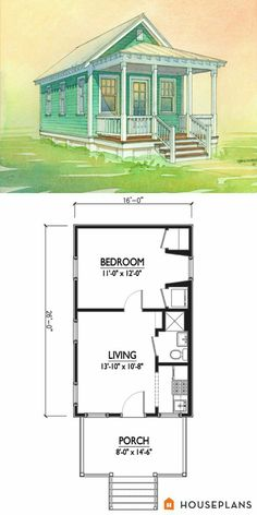 Charming tiny cottage plan by Marianne Cusato. 1 bedroom 1 bathroom coastal cottage Houseplans Plan This is good too! Add loft and voila! Guest House Plans, Cottage Style House Plans, Tiny House Cabin, Cottage Style Homes, Tiny House Living, Tiny House Design, Small House Plans, House Floor Plans, Guest Houses