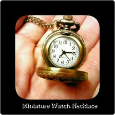"""MINIATURE PIERCED FLOWER WATCH NECKLACE   Miniature Metal Pierced Flower Watch Necklace Quartz Movement 33"""" Chain Beautiful for yourself or as a gift! Jewelry Necklaces"""